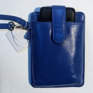 Blue leather clutch, smart phone and id holder.